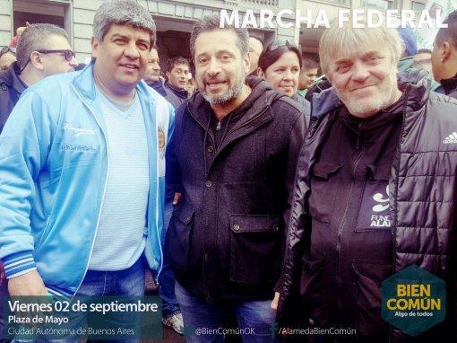 Pablo Moyano de Camioneros, Víctor Santamaria del SUTERH y Gustavo Vera Alameda